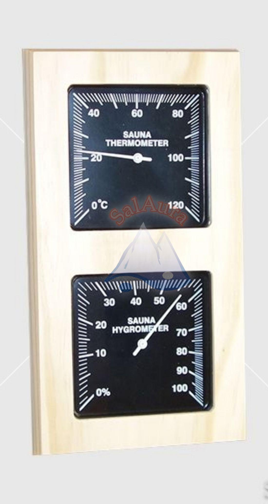 Fenyő hőmérő-páramérő 2.0 álló kivitelben, fekete számlappal